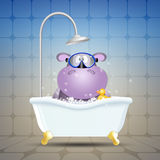 Hippo with diving mask on bath Royalty Free Stock Photography