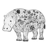 Hippo  doodle. Illustration Hippo was created in doodling style in black and white colors.  Painted image is  on white background Royalty Free Stock Photos