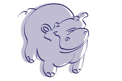 Hippo. The drawing of violet hippo Royalty Free Stock Images