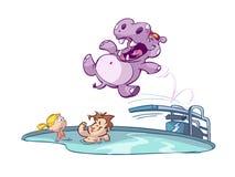 Hippo in een zwembad Stock Afbeeldingen