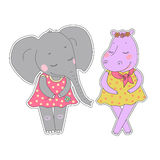 Hippo and elephant girls with closed eyes having a flower wreath on the head. Lovely hippopotamus and elephant in a dress in peas on white background. Animal Stock Photography
