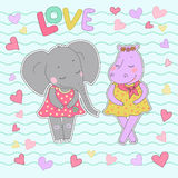 Hippo and elephant girls with closed eyes having a flower wreath on the head. Hippo and elephant girls with closed eyes. Lovely hippopotamus and elephant in a Stock Photos
