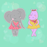 Hippo and elephant girls with closed eyes having a flower wreath on the head. Hippo and elephant girls with closed eyes. Lovely hippopotamus and elephant in a Stock Image