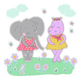 Hippo and elephant girls with closed eyes having a flower wreath on the head. Hippo and elephant girls with closed eyes. Lovely hippopotamus and elephant in a Royalty Free Stock Image