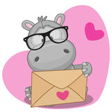 Hippo with envelope Royalty Free Stock Photo