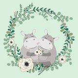 2018 02 23_hippo_eucalyptus διανυσματική απεικόνιση