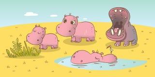 Hippo family. Wild animals savanna illustration Royalty Free Stock Photo