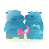 Hippo Family Mother Father and Kid with Book Royalty Free Stock Images