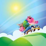Hippo family. Family hippo travel drive a car Royalty Free Stock Image