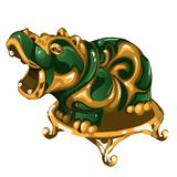 Hippo figurine made of jade isolated on white background. Statuette of nephrite in the Oriental style. Vector. Illustration Stock Images