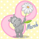Hippo with flower Royalty Free Stock Photo