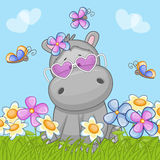 Hippo with flowers Stock Images