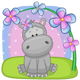 Hippo with flowers Royalty Free Stock Photography