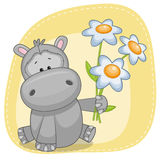 Hippo with flowers Stock Photography