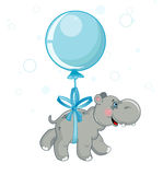 Hippo flying on a ball. Grey hippo flying on a blue ball: childhood illustration Royalty Free Stock Photo