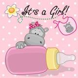 Hippo girl. Cute Hippo with feeding bottle Royalty Free Stock Photos