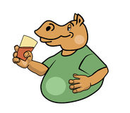 Hippo and a glass. Hippo holding a glass of water Royalty Free Stock Photography