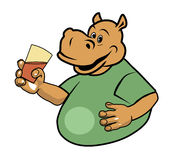 Hippo and a glass 2. Hippo holding a glass of water Stock Image