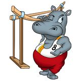 Hippo Gymnast. Heavy sportsman - high detailed illustration Royalty Free Stock Image