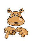 Hippo and hands. Hippo thinks with the fingers on the hand Royalty Free Stock Photography
