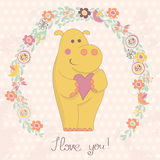 Hippo with heart and floral frame Royalty Free Stock Images