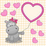 Hippo with heart frame Royalty Free Stock Photography