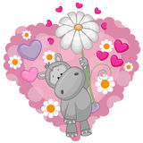 Hippo with hearts and flower Royalty Free Stock Image