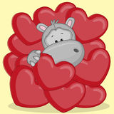 Hippo in hearts Royalty Free Stock Photos