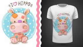 Hippo, hippopotamus - ιδέα για την μπλούζα τυπωμένων υλών απεικόνιση αποθεμάτων