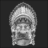 Hippo, Hippopotamus, behemoth, river-horse Cool animal wearing native american indian headdress with feathers Boho chic. Hippo, Hippopotamus, behemoth, river Royalty Free Stock Photo