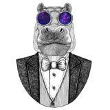 Hippo, Hippopotamus, behemoth, river-horse Hipster animal Hand drawn image for tattoo, emblem, badge, logo, patch, t Stock Photography