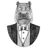 Hippo, Hippopotamus, behemoth, river-horse Hipster animal Hand drawn image for tattoo, emblem, badge, logo, patch, t Stock Photos