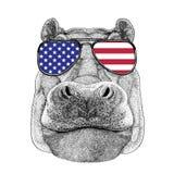 Hippo, Hippopotamus, behemoth, river-horse rt-shirt, tattoo, emb Stock Image