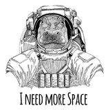 Hippo, Hippopotamus, behemoth, river-horse wearing space suit Wild animal astronaut Spaceman Galaxy exploration Hand Royalty Free Stock Images