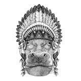 Hippo, Hippopotamus, behemoth, river-horse Wild animal wearing indian hat Headdress with feathers Boho ethnic image Royalty Free Stock Photo