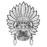 Hippo, Hippopotamus, behemoth, river-horse Wild animal wearing indiat hat with feathers Boho style vintage engraving Stock Photography