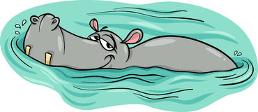 Hippo or hippopotamus in river cartoon Royalty Free Stock Photography