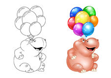 Hippo holiday balloons Royalty Free Stock Image