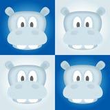 Hippo hoofdvector, hippovector, hippovector op blauwe achtergrond, beeldverhaalvector Royalty-vrije Stock Afbeeldingen
