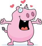 Hippo Hug. A cartoon hippo ready for a hug Royalty Free Stock Photography