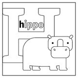 Hippo, letter H coloring page Stock Photos