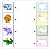 Hippo, lion, elephant and crocodile. Educational game for kids Stock Images
