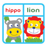 Hippo and lion. Two funny animal faces smiling for wallpaper wall and baby clothes Royalty Free Stock Photography
