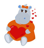 Hippo in love. Vector isolated toy object with hearts Royalty Free Stock Photo
