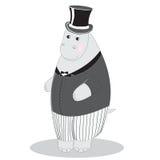 Hippo man gentleman in suit and top hat Stock Photo