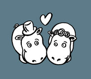 Hippo marriage Stock Photo