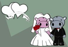 Hippo married cartoon background Royalty Free Stock Photos
