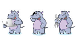 Hippo Mascot Vector with laptop Royalty Free Stock Photography
