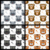 Hippo Monkey Panther Tiger Seamless Royalty Free Stock Photos