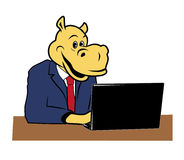 Hippo in office. Hippo in the office at a desk with a laptop Royalty Free Stock Images